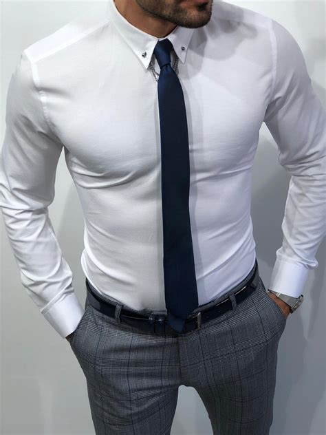 Buy Chain Collar Slim Fit Shirt White by Gentwith.com with ...