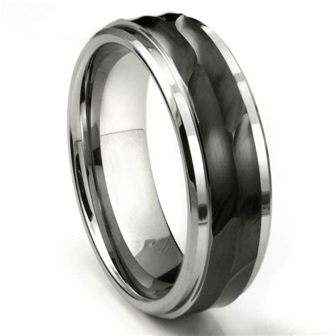 Tungsten Carbide 8mm Wave Finish Wedding Band Ring