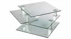Table Basse Carrée Verre : table basse carr e en verre 3 plateaux articul s table de salon design pas cher ~ Teatrodelosmanantiales.com Idées de Décoration
