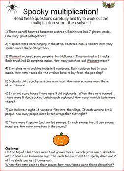 spooky math multiplication word problems 3rd grade