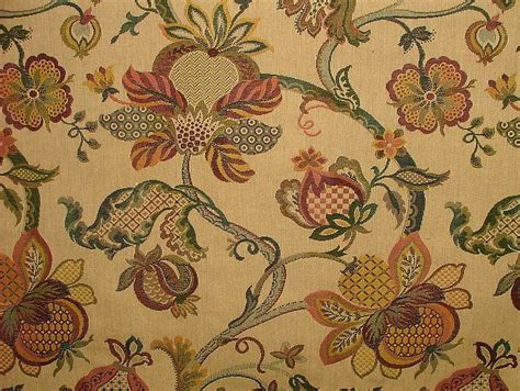Jacquard Upholstery by Jacobean Garden Gold Woven Jacquard Curtain Upholstery