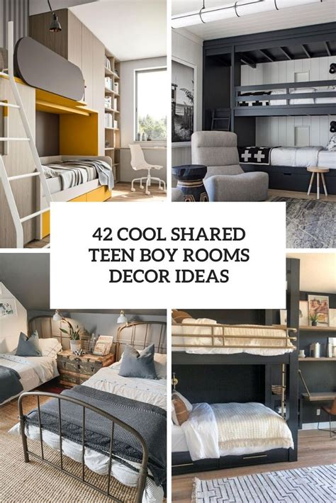 Shared bedroom theme ideas for boys sharing all sports theme on one side of the room and the other side can be sporty race cars patriotic americanaand superheroestheme bedroom or stars and stripeswith cowboys dinosaur themecombined with a jungle safari theme 42 Cool Shared Teen Boy Rooms Décor Ideas - DigsDigs
