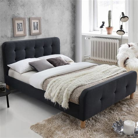 New Dark Grey Button Tufted Double Bed Frame Ebay