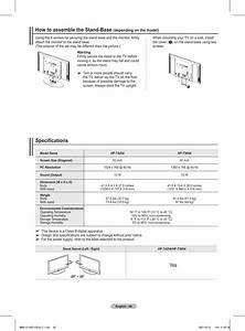 Specifications  How To Assemble The Stand