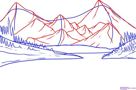 Simple Mountain Drawings Photo by How To Draw Lakes Mountains With A Pencil Step By Step