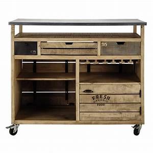 Meuble Bar Maison Du Monde : meuble de bar roulettes en manguier farmers bar ~ Nature-et-papiers.com Idées de Décoration