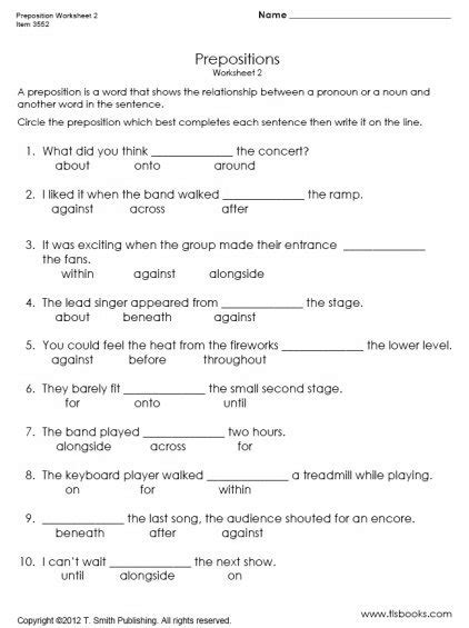 6 Best Images Of Prepositional Phrases Worksheets For Kindergarten  Prepositional Phrases