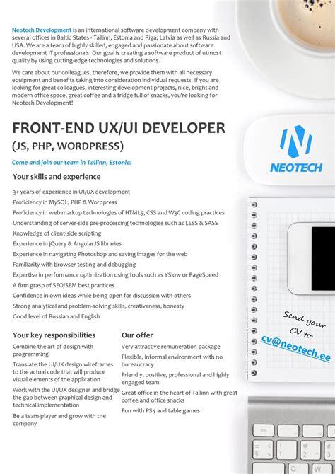 cv keskus t 246 246 pakkumine front end ux ui developer js php