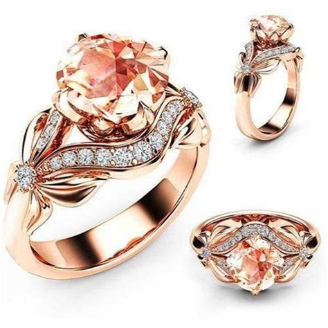 zircon inlaid with hollow butterfly rose gold wedding
