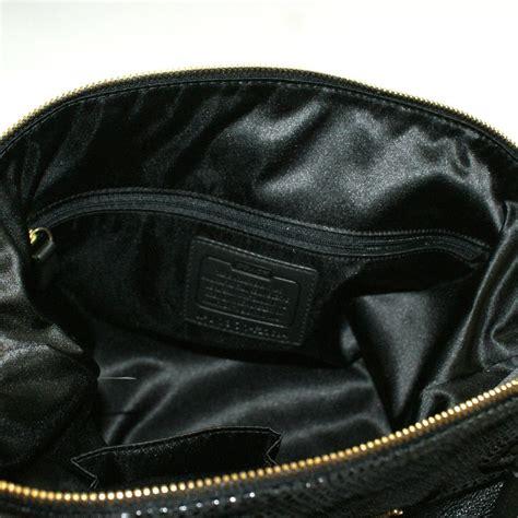 coach ashley leather satchel shoulder bag black  coach