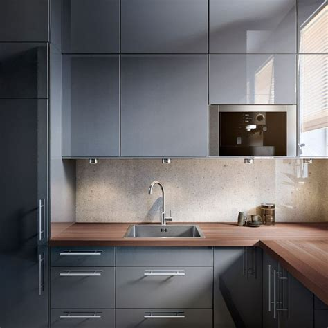 Grey Cupboards Kitchen by Ikea Glossy Gray Cupboards Mixed With Strong Wooden