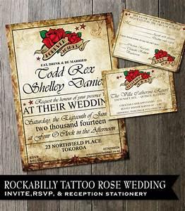 rockabilly wedding invitation tattoo rose wedding invite With rockabilly wedding invitations free