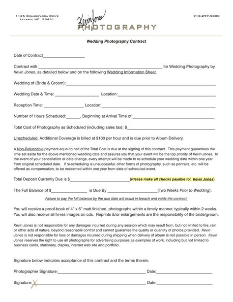 wedding photography contract kevin jones photography