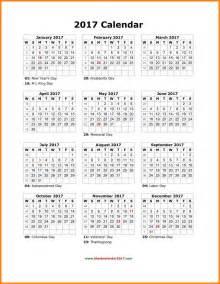 Blank Yearly Calendar 2017