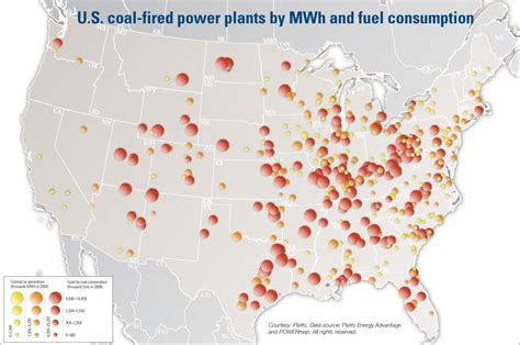 map   coal fired power plants  mwh  fuel