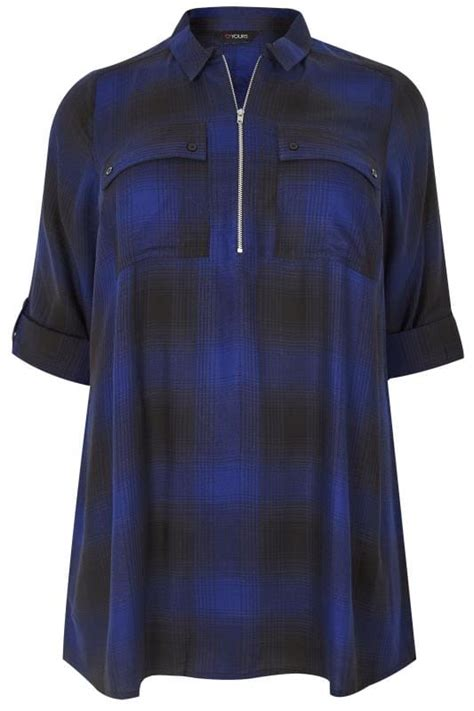 date post jenny template responsive cobalt blue zip through checked shirt plus size 16 to 36
