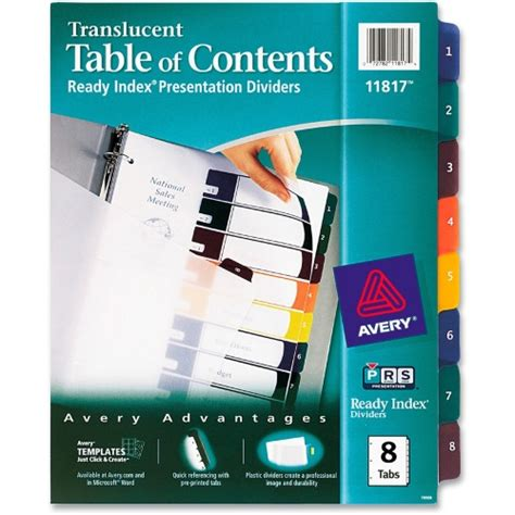 avery 25 tab table of contents template avery ready index translucent table of content dividers