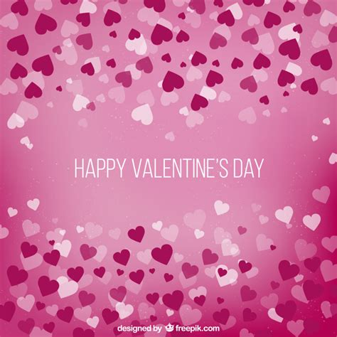 Valentine's Day Background With Hearts Vector  Free Download