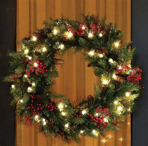 best outdoor battery or solar christmas garland lights top wreath ideas celebration all about