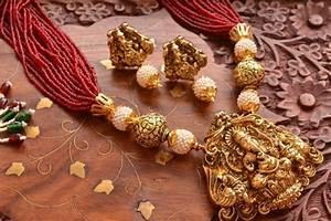 Buy Temple Jewellery with pearl & semi-precious stone
