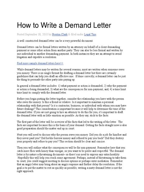 write  demand letter eviction lease