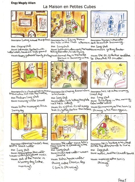storyboard for la maison en petits cubes on behance