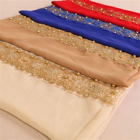 muslim plain lace pearl floral hijab glitter flower