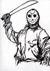 Jason Voorhees Sketch Coloring Clipart Drawing Pages Ink Scrawls Ditch Getdrawings Deviantart Clipground Stats Downloads sketch template