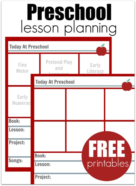preschool lesson planning template free printables no 2 | preschool lesson plan free printables