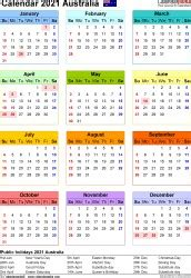 Download 2021 Calendar Australia Free Printable  Images