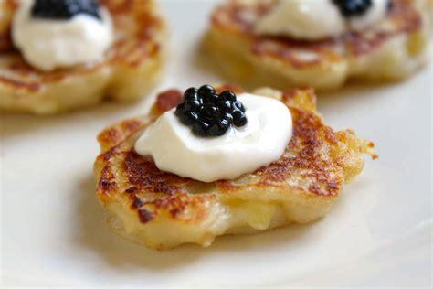 miniature boxty  creme fraiche  truffle caviar appetizer christinas cucina