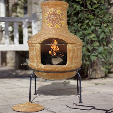 Clay Chiminea by Pizza Clay Chiminea Patio Heater With Bbq By Oxford