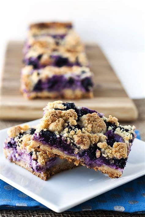 creamy blueberry crumb bars food folks  fun