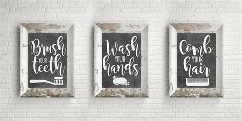 Then let's have a look at the following ideas for the most widespread types of bathroom interiors. PRINTABLE Bathroom Wall Decor Bathroom Signs Chalkboard | Etsy