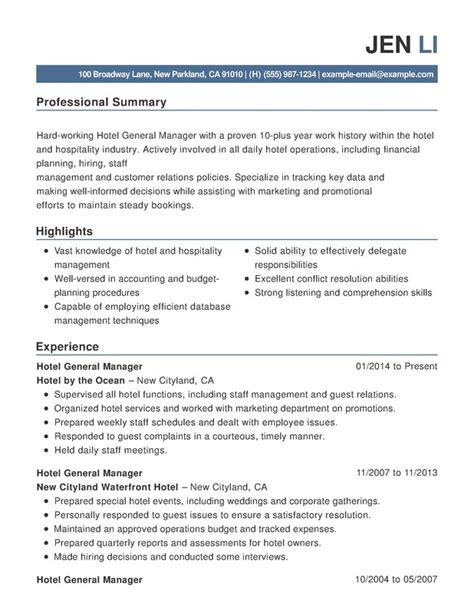 Hospitality Work Resume by Best Hospitality Resume Templates Sles Writing Resume Sle Writing Resume Sle