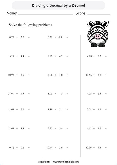division of decimals by decimals grade 6 math decimal worksheet for math class or online math