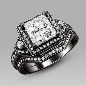 black diamond wedding ring sets for women amazing With womens black wedding ring sets