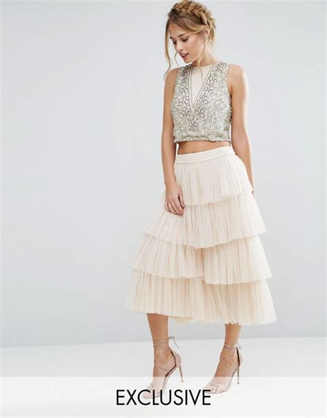 lace and lace tiered tulle culottes