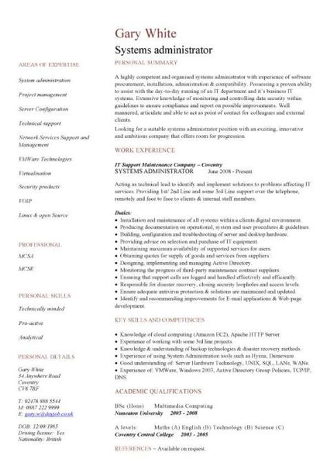 Resume For System Administrator by Systems Administrator Cv Sle Resume Curriculum Vitae