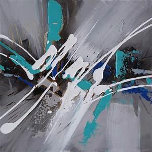 Tableau Peinture Sur Toile : tableau abstrait gris bleu canard d co murale scandinave ~ Teatrodelosmanantiales.com Idées de Décoration