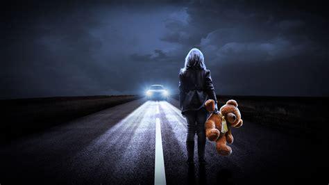 Girl Teddy Bear Night Road 4k Wallpapers Wallpapers Hd