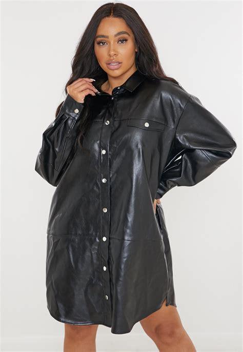 Plus Size Black Faux Leather Shirt Dress | Missguided