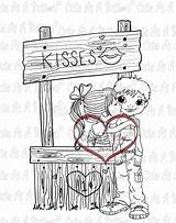 Kissing Booth Stamps Button Digi Coloring Myshopify Stamp sketch template
