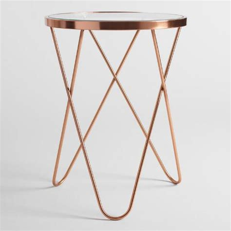 rose gold bedside table rose gold tomlin accent table with glass top world market