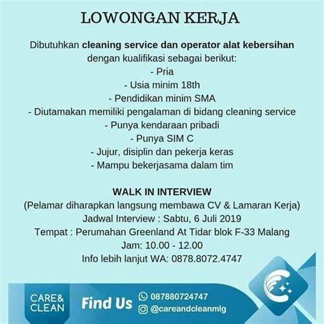 Adapun hal yang paling penting adalah pendapatan atau gaji. Lowongan Kerja Cleaning Service Dan Operator Alat Kebersihan - 𝙈𝙊𝙃𝘼𝙈𝙈𝘼𝘿 𝙅𝘼𝙀𝙉𝙐𝘿𝙄𝙉 di Malang Kota ...
