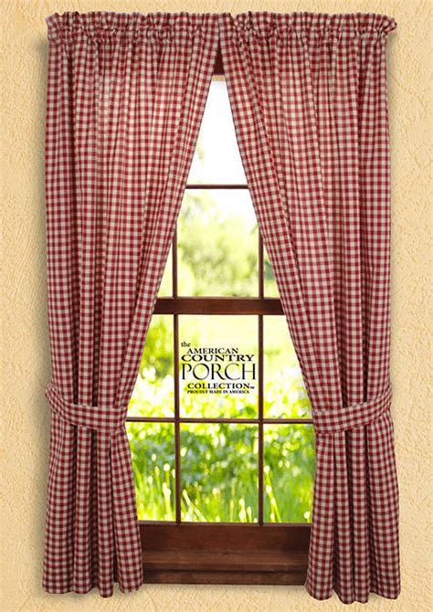 Cottage Red Check Tieback Curtain Panels