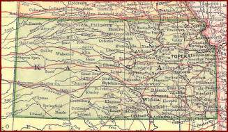 Kansas Road Map with Cities