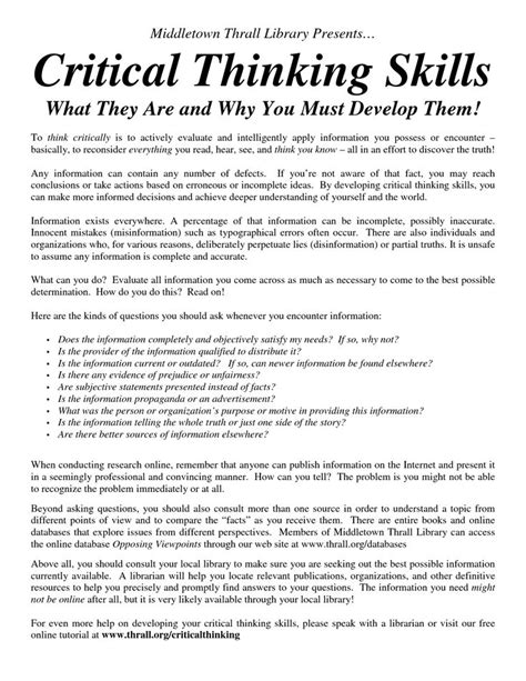How To Write Critical Thinking Skills In Resume by Critical Thinking Level F Answers