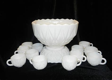 milk glass ls hazel atlas williamsport pattern milk glass punch bowl