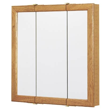 surface mount medicine cabinet lowes shop style selections 24 25 in x 24 in oak particleboard